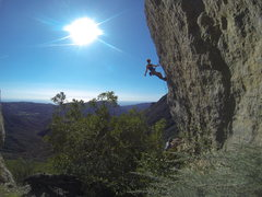 Rock Climbing Photo: Hangin below the crux. Beautiful spot