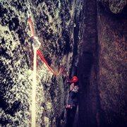 Rock Climbing Photo: Inside the chimney of Den Sorte Kamin