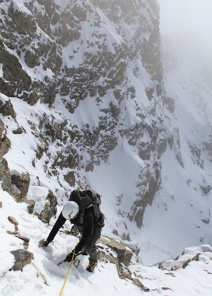 Backyard Practice. Daryl Styles nears the top of the west face gully on Lake Peak - Santa Fe 2011