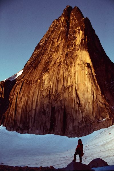 Tim O'Grady below Snowpatch Spire - Bugaboos
