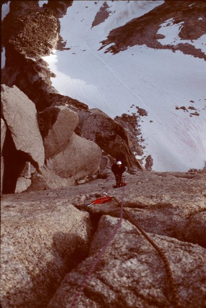 Rock Climbing Photo: Susan belays the 5.10 crux pitch on Beckey-Chounar...
