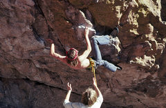 Rock Climbing Photo: Old, but still the way. The opening moves of T2 in...