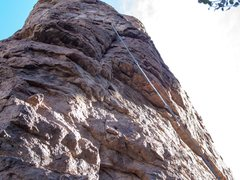 Rock Climbing Photo: This was his rope after the fall. You can still se...