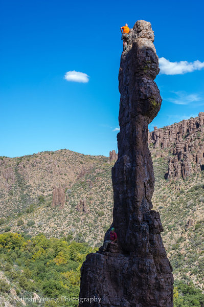 Rock Climbing Photo: Colton taking a seat at the mid-pitch rappel stati...