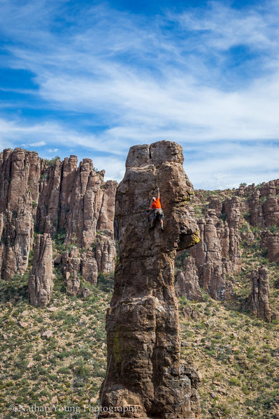 Rock Climbing Photo: Aaron at the crux of the route.  Up to this point,...