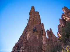 Rock Climbing Photo: Approaching the second bolt that is on the slant s...