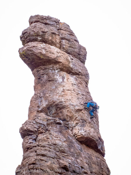 Austin doing the FA on-site of Pathological Optimist.<br> <br> This is the second crux section.