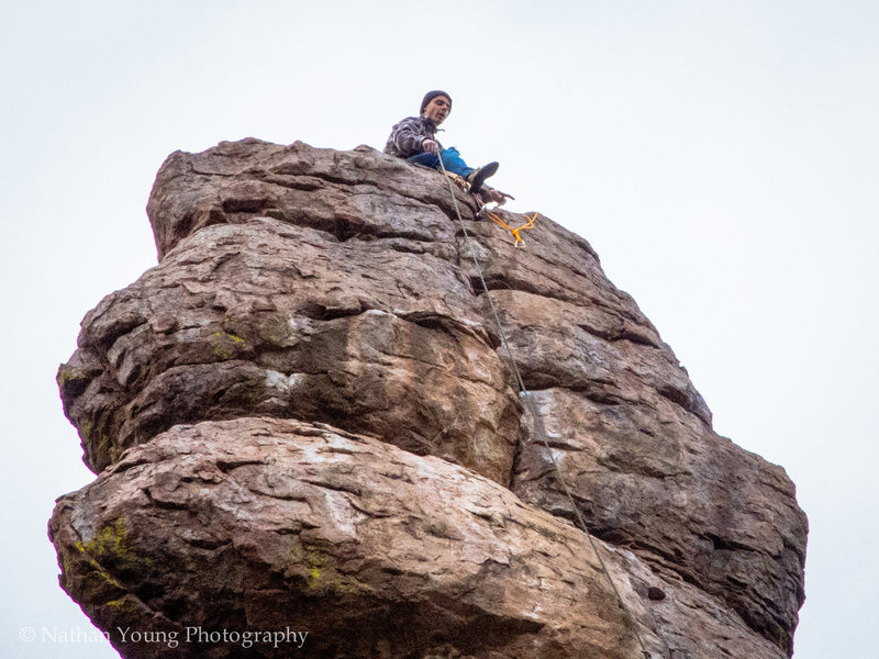 Austin doing the FA on-site of Pathological Optimist.<br> <br> He made it to the top!