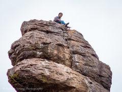 Rock Climbing Photo: Austin doing the FA on-site of Pathological Optimi...