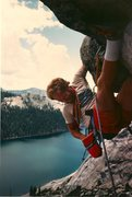 Rock Climbing Photo: A younger John Warren on Hoodwink roof in the 90's...