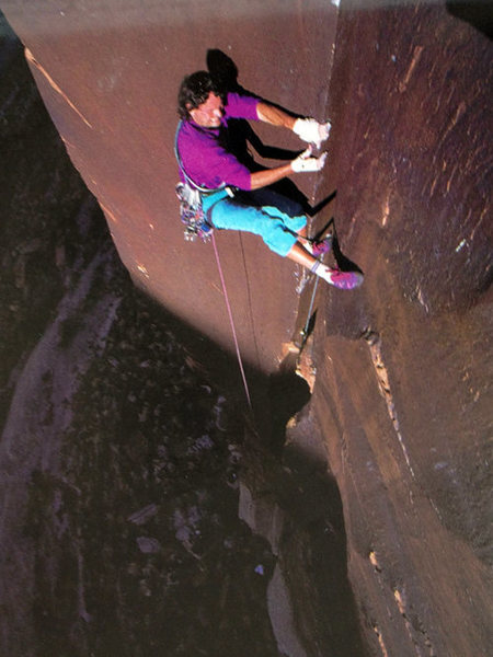 """Craig Lubben laybacking the """"calf lock"""" section. Yeah right!<br> <br> Photo: Jeff Achey from climbing #179"""