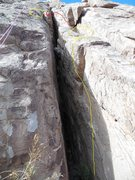 Rock Climbing Photo: Chimney up with your back where the yellow line is...