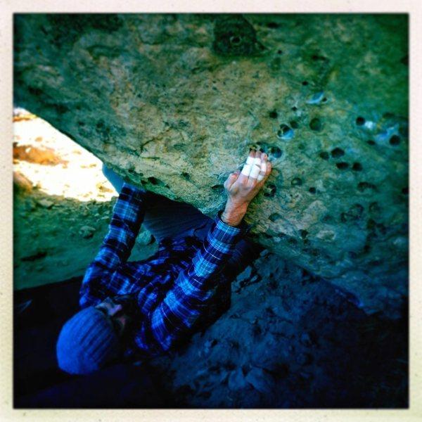 Rock Climbing Photo: Sam picking pockets