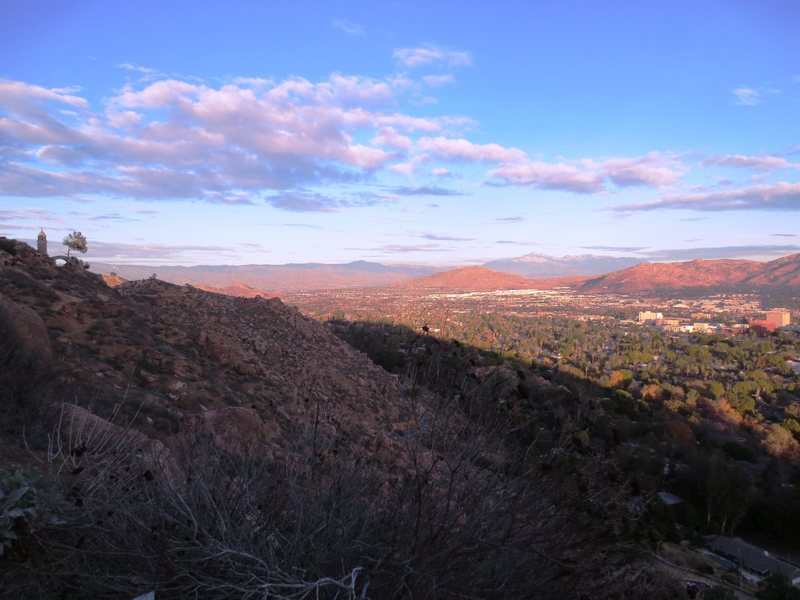 Rock Climbing Photo: Sunset on the 1st of the year from Mt Rubidoux at ...