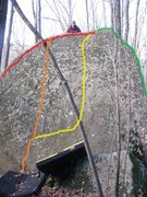 Rock Climbing Photo: red is I-95 Arete  orange is Death  Yellow is Disp...