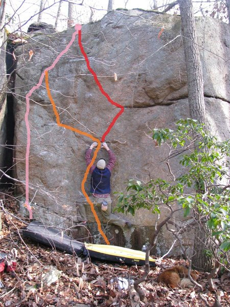 Rock Climbing Photo: pink is Jug Haul Trucker orange is Dubious Encount...