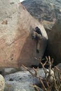 """Rock Climbing Photo: Just before starting the mantel on """"Bluefoot&..."""