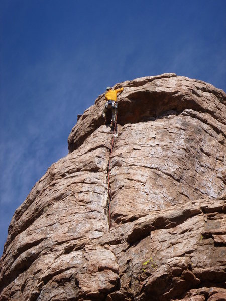 Rock Climbing Photo: Arjun pulling the upper bulge on the FA. Note the ...