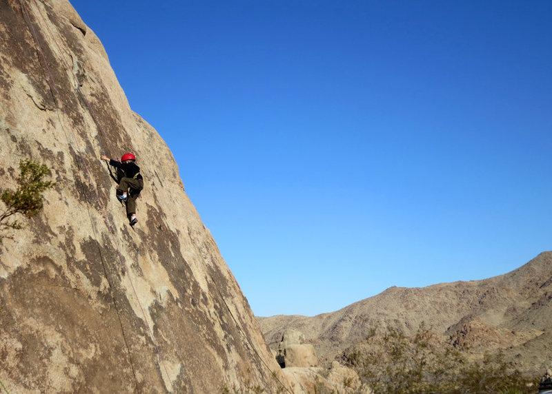 On the day before his 6th birthday, Bryson Fienup climbs Gotcha Bush in Indian Cove, Joshua Tree National Park.