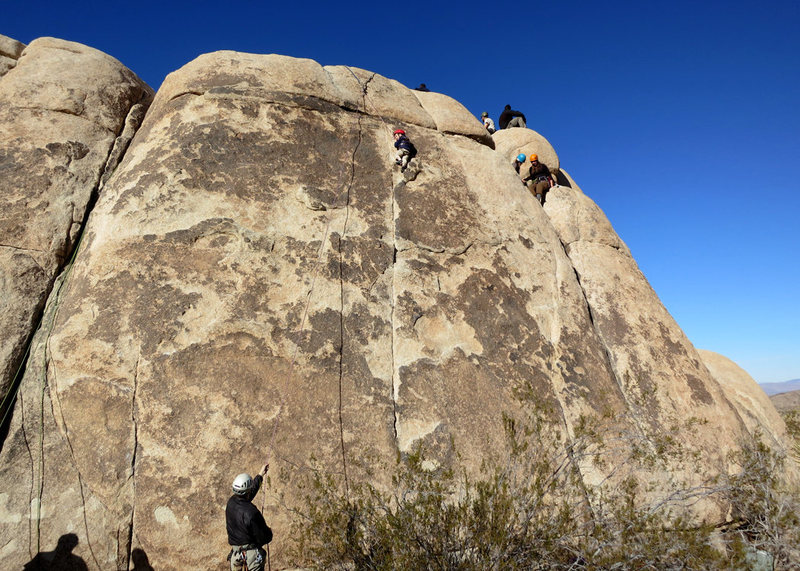 Rock Climbing Photo: Three-year old Wesley Fienup (in the red helmet) c...