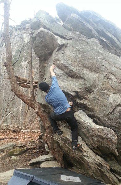 Rock Climbing Photo: St. Peter V4 Rumbling Bald, NC