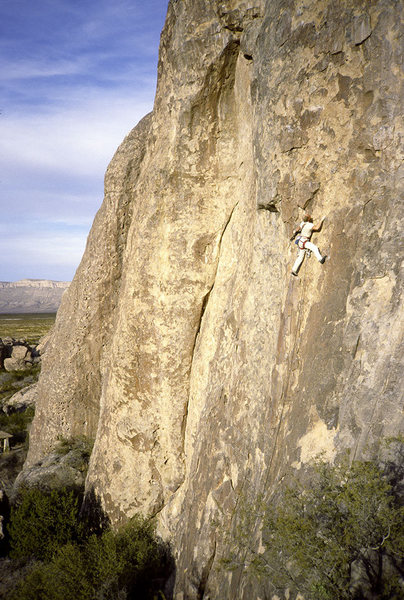 Rock Climbing Photo: Window Pain. Me leading, late 1980s. Cool route.