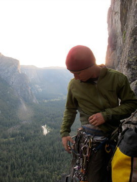 Early morning start on the Northwest Face of Higher Cathedral Spire.  (photo:  Eric Sloan)