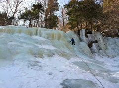 Rock Climbing Photo: A buddy's first ice lead (that he didn't drop all ...