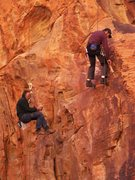Rock Climbing Photo: Sally and The Pumpkin King going in.