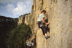 Rock Climbing Photo: Tony Herr, working past the first bolt, Blackmans'...