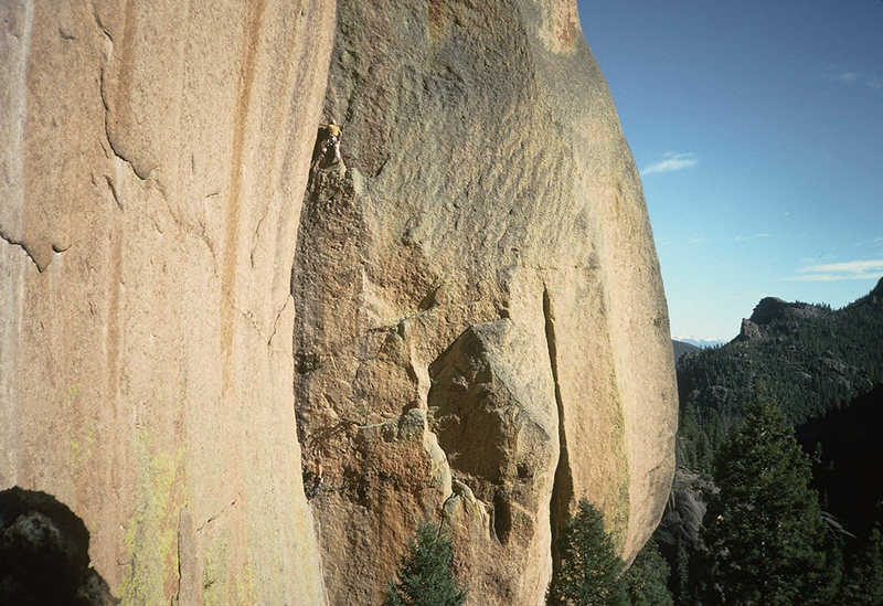 First ascent. Oct. 1990. Me on pitch 2, Strappo belaying. Photo by Michelle Bauer (or was it Mrs. Strappo back then...?).
