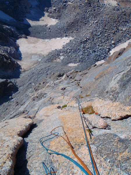 Rock Climbing Photo: Looking down the crux pitch