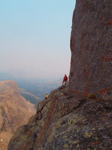 """Rock Climbing Photo: The rappel belay is back there. The """"crux&quo..."""