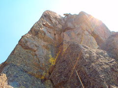 Rock Climbing Photo: The crux dihedral on the second pitch