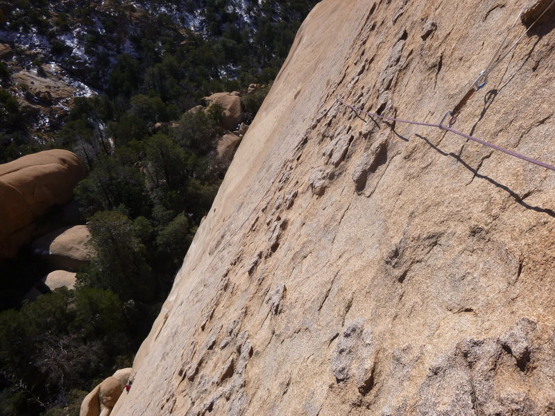 Rock Climbing Photo: Looking back from the top of pitch 2