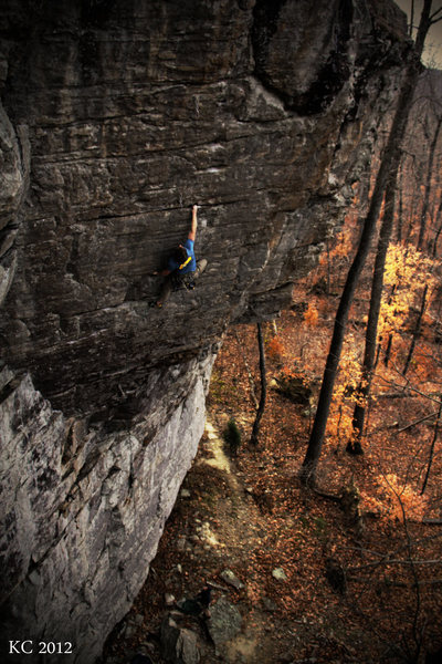 Andrew Gertsch pulling the crux