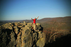 Rock Climbing Photo: Slacklining the pillar
