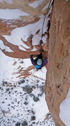 Rock Climbing Photo: Lindsey following a bitter cold winter ascent of O...