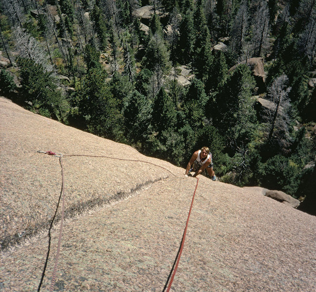 One of the best face climbs in the entire Platte. Jerry Rock, 1991.