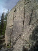 Rock Climbing Photo: Stone Soup is the lefthand crack. Thanks a Latte' ...