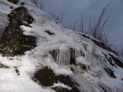 Rock Climbing Photo: Iced ledge finish.