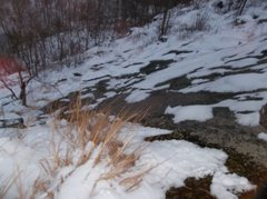 Rock Climbing Photo: Snow ramp ledge and this was not climbed. There ar...