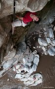 Rock Climbing Photo: Rodrigo R finishes on the crux