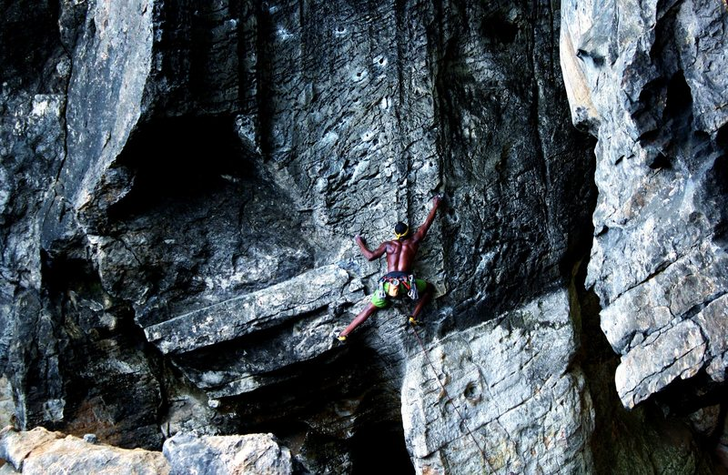 """Climbing """"The best route in Minnesota"""" (5.11b)."""