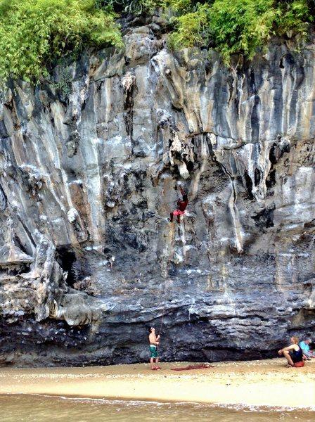 Rock Climbing Photo: Enjoying the moves on La Bab (5.12a).