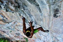 Rock Climbing Photo: Climbing on Muay Thai wall at Railay beach.