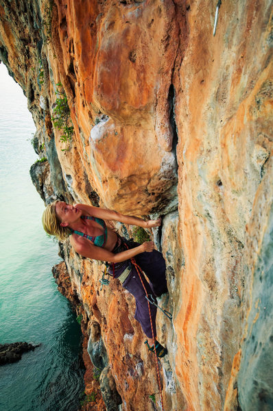 Rock Climbing Photo: My favorite gal on an 11a at Grateful Wall in Koh ...