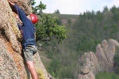 Rock Climbing Photo: FA below the crux.