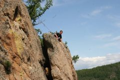 Rock Climbing Photo: The crux of The Easy Face is seen with a rope glid...