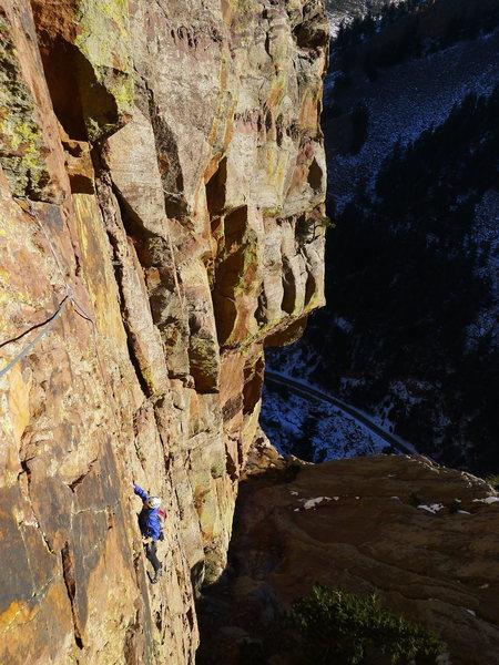 Rock Climbing Photo: Tim on P1.